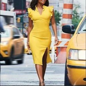NY and Co yellow dress, side slit